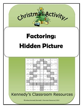 Review of Factoring - Holiday Hidden Picture (Great for December!)