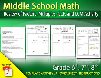 Review of Factors, Multiples, GCF, and LCM Activity