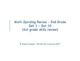 Beginning of Second Grade - Review of First Grade Math Skills (Spiraling)