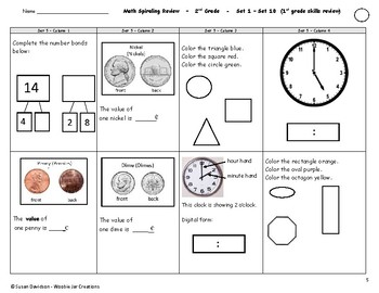 Beginning of Second Grade - Review of First Grade Math Skills (Spiraling)