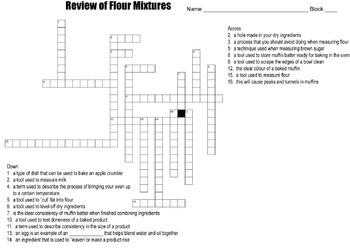 Review of Flour Mixtures Crossword Puzzle