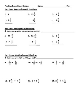 Review of Fractions: Adding, Subtracting, Multiplying and Dividing