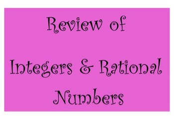 Review of Integers and Rational Number System