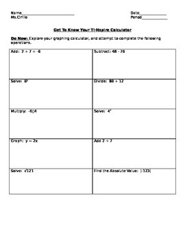 Get to Know your Inspire Calculator worksheet