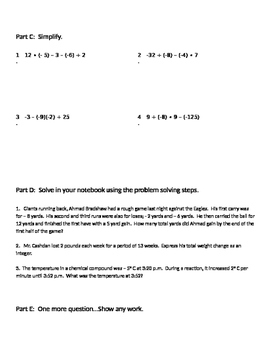 Integers 13 - Review of Operations with Positive and Negative Integers