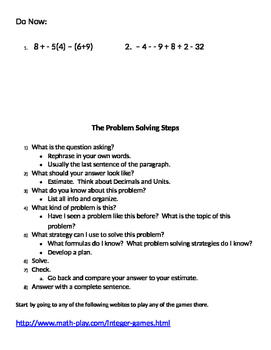 Integers 14 - Review of Operations with Integers Using Internet Games