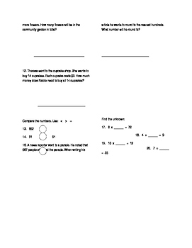 Review of Place Value/Operations/Adding/Subtracting/Word Problems
