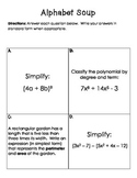 Review of Polynomials Activity