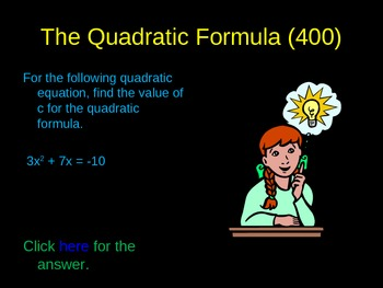 Review of Quadratic Functions Activity Game