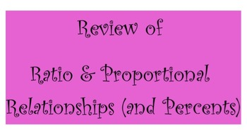 Review of Ratio & Proportional Relationships (and Percents)