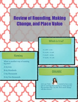 Review of Rounding,Making Change,&Place Value (Zip File wi