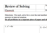 Review of Solving