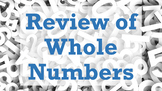 Review of Whole Numbers