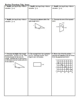 Review of fractions, trig, and area (Editable)