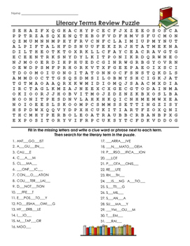 Review of literary terms - word search puzzle