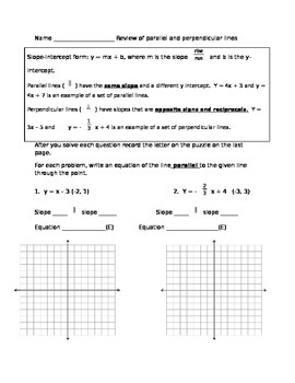 Review of parallel and perpendicular lines