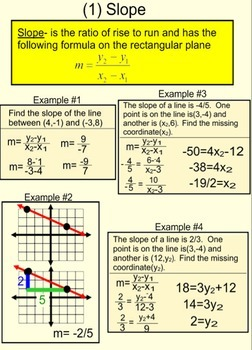 Review of slope, distance formula, degree and midpoint on
