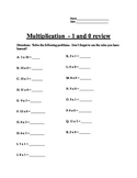 Review of the 1 and 0 times tables