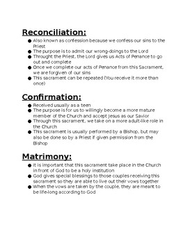 Review of the Sacraments