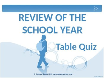 Review of the School Year Table Quiz