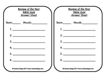 Review of the School Year Table Quiz Answers and Answer Sheets