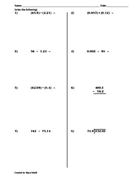 Review on all Operations with Decimals Worksheet