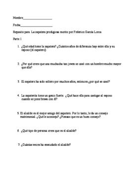 "Review packet for ""La zapatera prodigiosa"" written by Federico García Lorca"