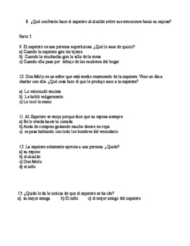 "Review packet for ""La zapatera prodigiosa"" written by Federico García Lorca"