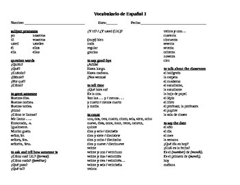 Review packet of all Spanish I vocabulary