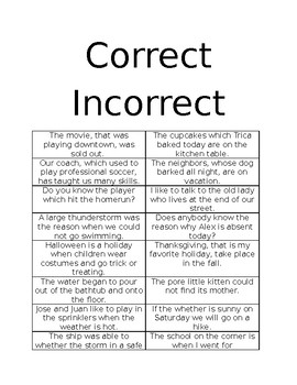 Review sort correct sentence structure