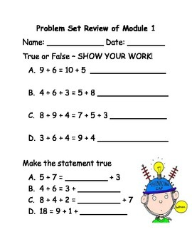 Review worksheet for Grade 2 Module 1