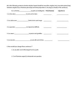 Review worksheet for french relative pronouns