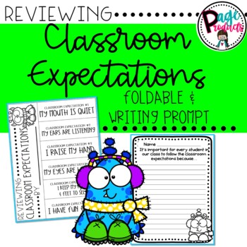 Reviewing Classroom Expectations Foldable and Writing Prompt