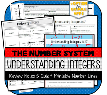 Reviewing Integers NOTES & QUIZ (Pre-Requisite for 7th Grade Math)