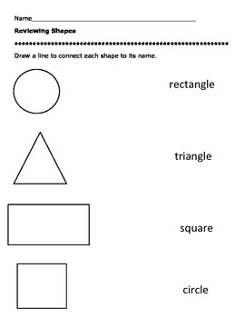Reviewing Shapes Worksheet