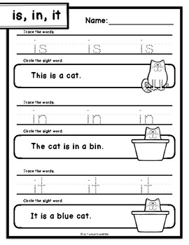 Reviewing Sight Words from Books 1, 2, & 3 Worksheets