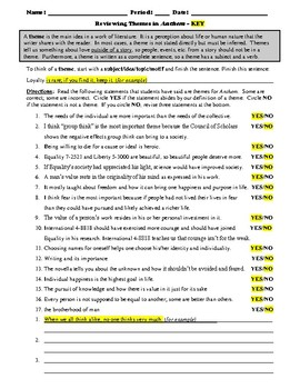 Reviewing Themes in Ayn Rand's Anthem Worksheet