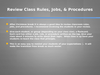 Reviewing rules, jobs, and procedures after holiday break