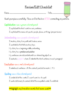Revise/Edit Checklist