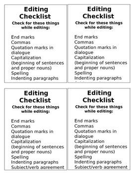 Revise & Edit Checklists