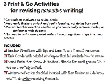 Revise Narrative Writing - 3 Print & Go Resources