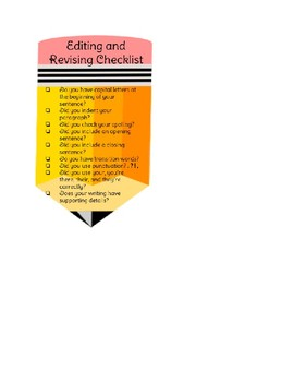 Revise and Edit Checklist Bookmark