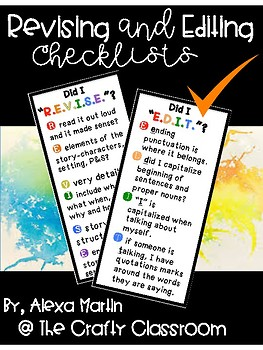 Revise and Edit Checklists (Bright) FREEBIE