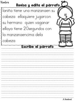 Revise and Edit Paragraphs #2 in Spanish Revisar y editar