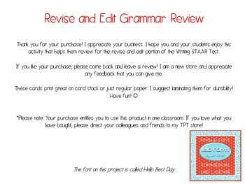 Revise and Edit STAAR Review WITHOUT QR Codes