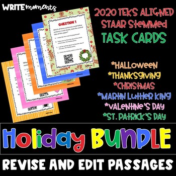 Revise and Edit Task Cards HOLIDAY BUNDLE