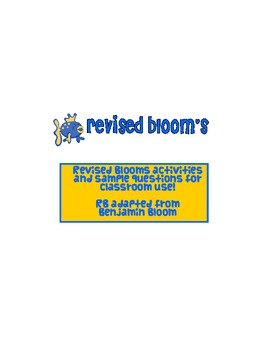 Revised Blooms Activity Cards