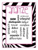 Revised Bloom's Posters: Zebra Theme!