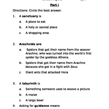 Revised Listening and Learning Greek Myth Assessment