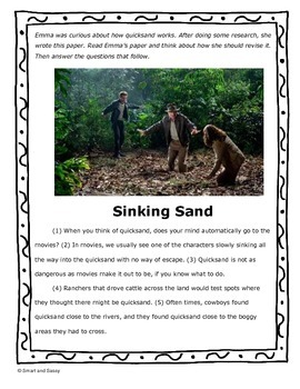 4th Gr Revising ELA Task Cards and prompt- Quicksand TEKS Aligned STAAR Review
